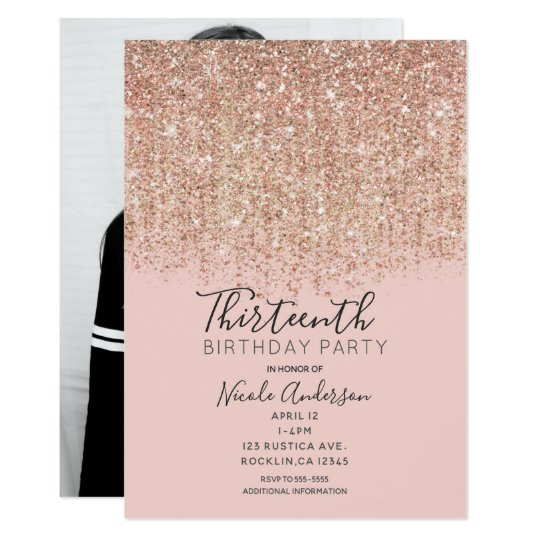 Blush Pink Rose Gold Glitter Birthday Party Photo