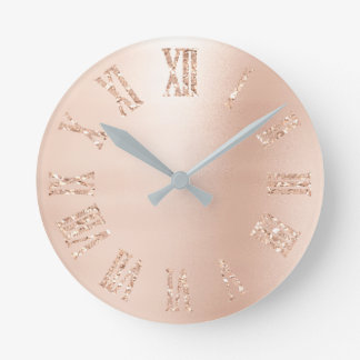 Blush Pink Rose Gold Glitter Metallic Roman Number Round Clock