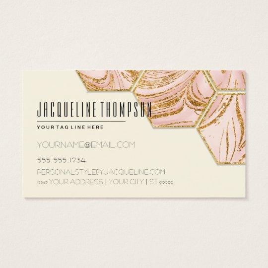 Blush Pink Rose Gold Glitter Modern Hexagon Marble