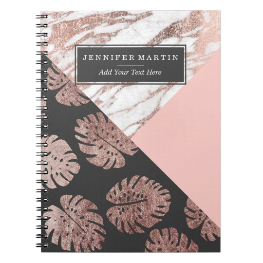 Blush Pink Rose Gold Marble Swiss Cheese Leaves Notebook