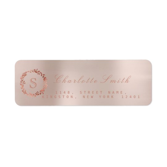 Blush Pink Rose Gold Wreath VIP Monogram RSVP