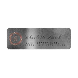 Blush Pink Rose Silver Monogram Return Address Return Address Label