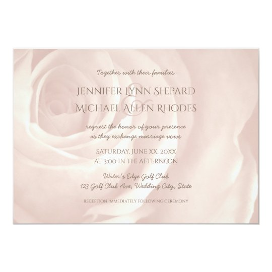 blush pink rose simple elegant wedding invitation