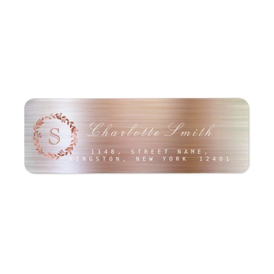 Blush Pink Rose VIP Monogram Return Address Labels