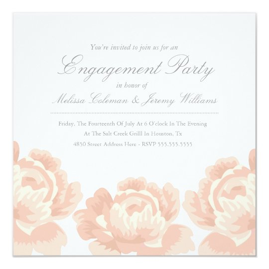 Blush Pink Roses Engagement Party Invitation