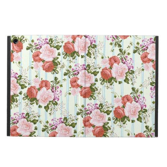 Blush pink roses flowers pastel blue chic stripes