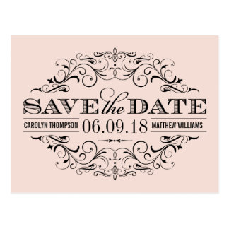 Blush Pink Save the Date | Swirl and Flourish Postcard