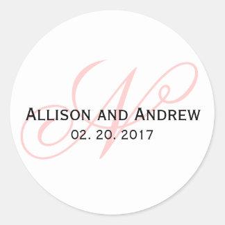 Blush Pink Script Initial N Monogram Wedding Favor Round Stickers