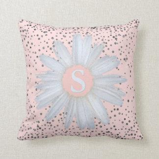 Blush Pink Silver Confetti Dots | Daisy Monogram Cushion