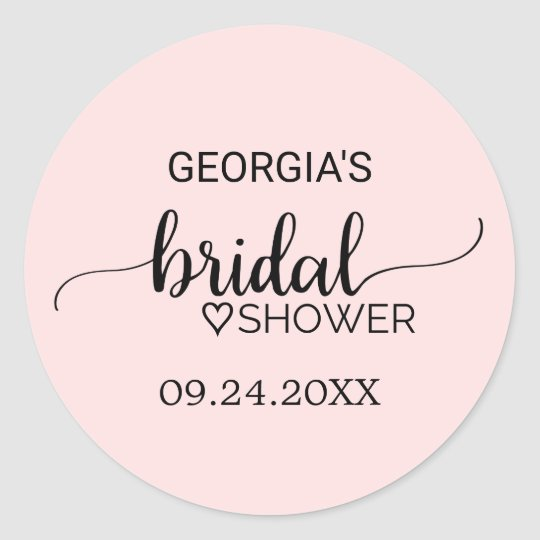 Blush Pink Simple Calligraphy Bridal Shower Classic Round