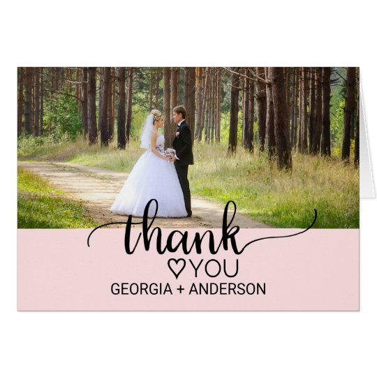 Blush Pink Simple Calligraphy Photo Thank You Card