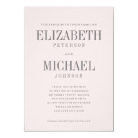 Blush Pink Simple Elegant Type Wedding Invitation