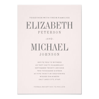 Blush Pink Simple Elegant Type Wedding Invitation