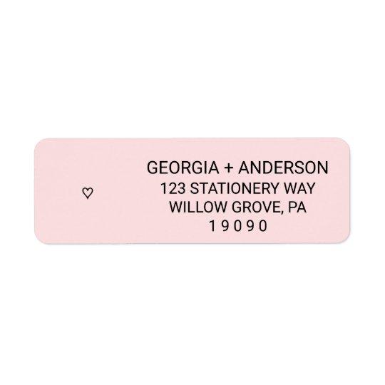 Blush Pink Simple Heart Wedding Return Address Label