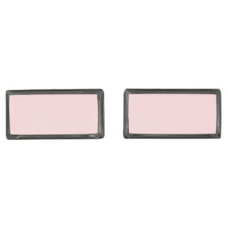 Blush Pink Solid Color Gunmetal Finish Cufflinks