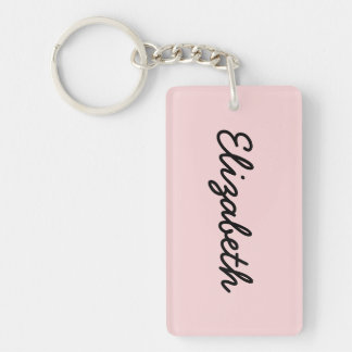 Blush Pink Solid Color Double-Sided Rectangular Acrylic Key Ring