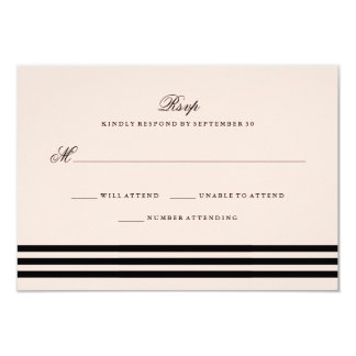 Blush Pink Sophisticated Stripes Wedding RSVP 9 Cm X 13 Cm Invitation Card