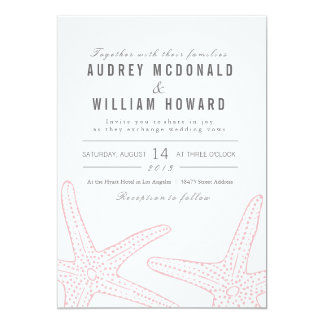 Blush Pink Starfish Wedding Invite