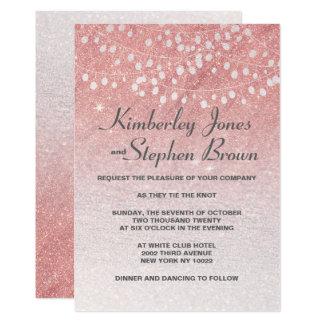Blush pink string lights faux glitter wedding card