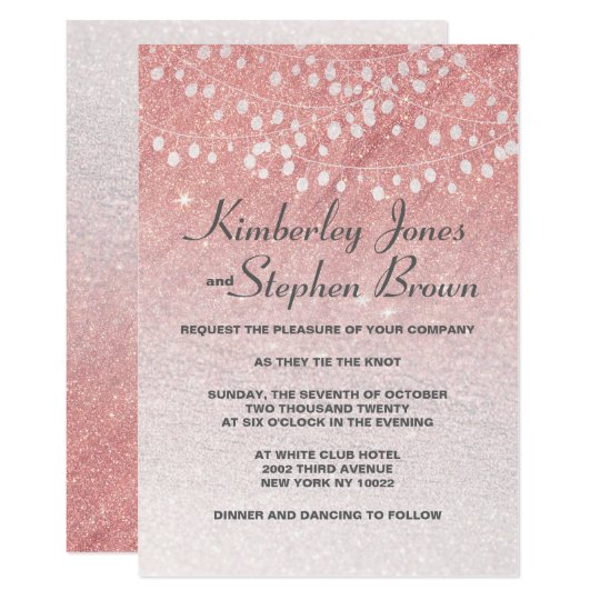 Blush pink string lights faux glitter wedding card