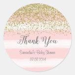 Blush Pink Stripes Baby Shower Sticker