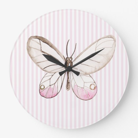 Blush Pink Stripes & Butterfly Nursery Wall Clock