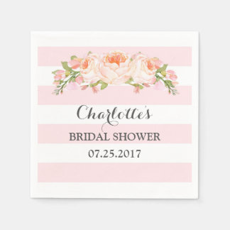 Blush Pink Stripes Floral Bridal Shower Napkin Disposable Napkin