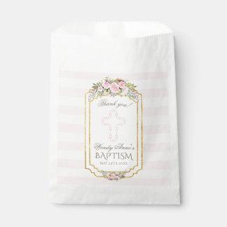 Blush Pink Stripes Floral Gold Baptism Monogram Favour Bags