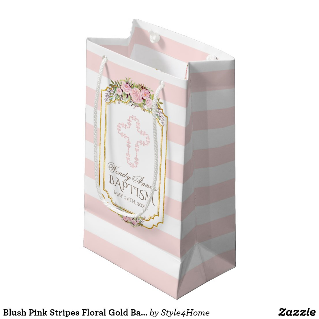 Blush Pink Stripes Floral Gold Baptism Monogram Small Gift Bag