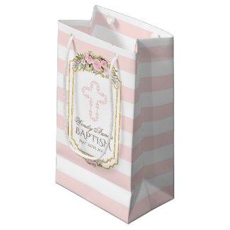 Blush Pink Stripes Floral Gold Baptism Monogram Small Gift Bag