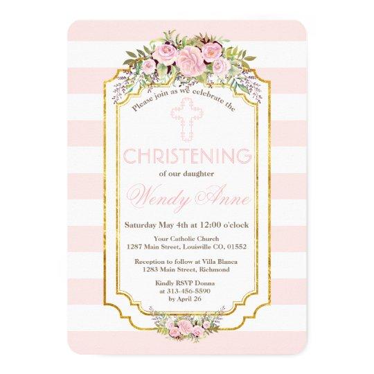 Blush Pink Stripes Floral Gold Christening Invite