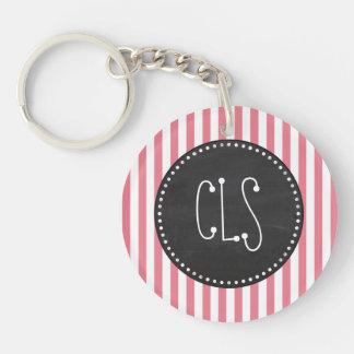Blush Pink Stripes; Retro Chalkboard look Double-Sided Round Acrylic Key Ring