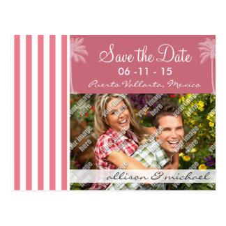 Blush Pink Stripes; Summer Palm Post Cards