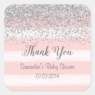 Blush Pink Stripes Thank You Stickers