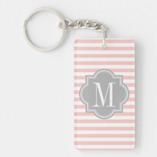 Blush Pink Stripes with Gray Monogram Double-Sided Rectangular Acrylic Key Ring