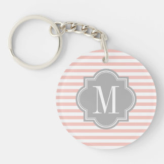 Blush Pink Stripes with Gray Monogram Double-Sided Round Acrylic Key Ring