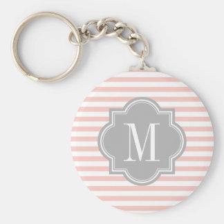 Blush Pink Stripes with Gray Monogram Keychains