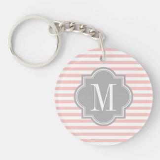 Blush Pink Stripes with Gray Monogram Acrylic Key Chains