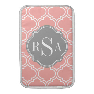 Blush Pink Tile Lattice Pattern Grey Monogram Sleeve For MacBook Air