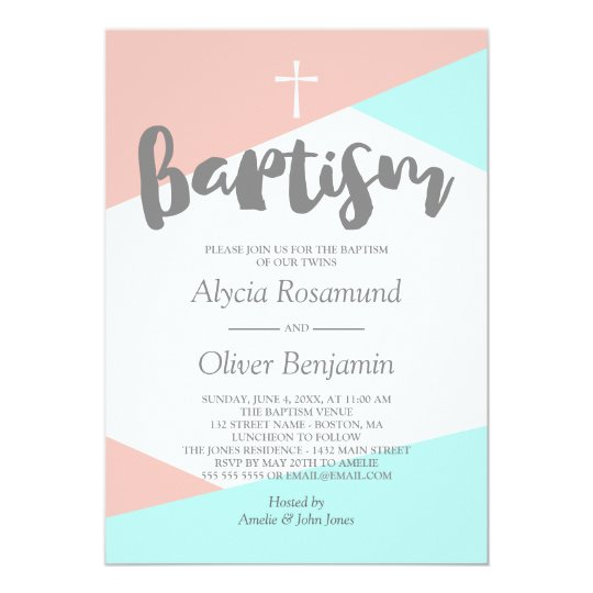 Blush Pink Turquoise Geometric Twins Baptism Card