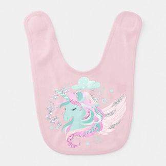 Blush Pink Unicorn Faux Glitter Bib