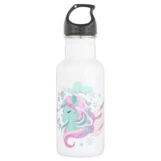Blush Pink Unicorn Faux Glitter Water Bottle
