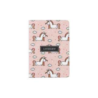 Blush Pink Unicorn Pattern - Custom Name Passport Holder