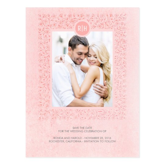 Blush Pink Vintage Floral Photo Save the Date