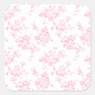 Blush pink vintage roses elegant floral square sticker