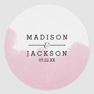 Blush Pink Watercolor Brush Strokes Wedding Classic Round Sticker