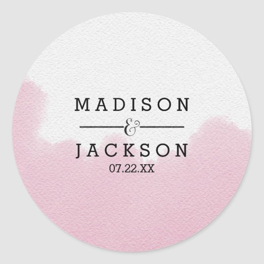 Blush Pink Watercolor Brush Strokes Wedding Classic Round