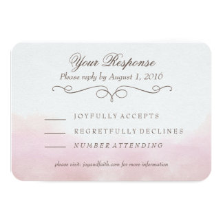 Blush Pink Watercolor Calligraphy RSVP Card 9 Cm X 13 Cm Invitation Card