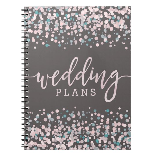 Blush Pink Watercolor Confetti Wedding Planner Notebooks