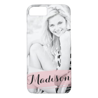 Blush Pink Watercolor Custom Photo Personalised iPhone 8/7 Case